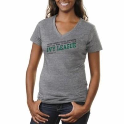 Fanatics Branded ファナティクス ブランド スポーツ用品  Ivy League Gear Womens Skew List Tri-Blend V-Neck T-Shirt - Ash
