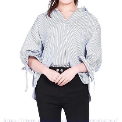 レディース シャツ ブラウス ストライプ 半袖 Tシャツ スキッパー 体型カバー ゆったり Vネック トップス ドルマン