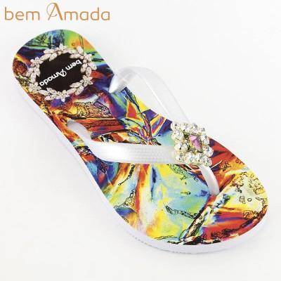■50%OFF■ビジュー付きビーチサンダル【bem Amada】クリスタルIRISADO ホワイト(Sサイズ)