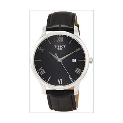 Tissot Men's 'Tradition' Swiss Quartz Stainless Steel and Leather Dress Watch, Color:Black (Model: T0636101605800)並行輸入品