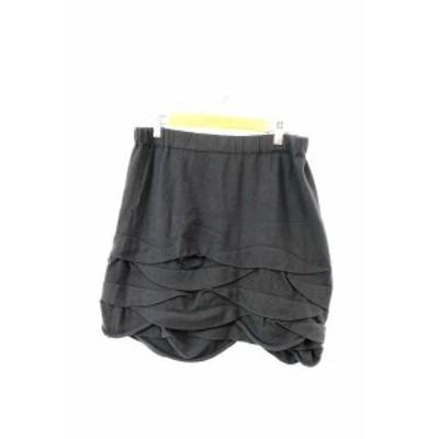 【中古】エストネーション ESTNATION スカート 台形 ミニ ニット ティアード ウエストゴム ウール混 F 黒 レディース