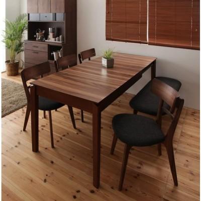 天然木ウォールナットエクステンションダイニング Nouvelle ヌーベル 6点セット テーブル+チェア×4+ベンチ