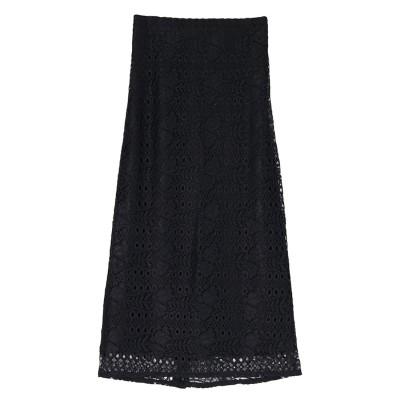 ユアーズ ur's レースセミタイトスカート (ブラック)