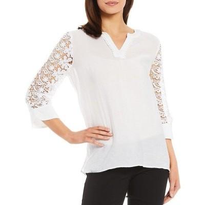 マルチプルズ レディース シャツ トップス Solid Crinkle Woven Pom Pom Trim Notch Neck Lace-Sleeve Hi-Low Top White