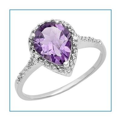 新品Dazzlingrock Collection Sterling Silver 10X7 MM Pear Amethyst & Round White Diamond Ladies Teardrop Engagement Ring, Size 8.5【並行輸入品