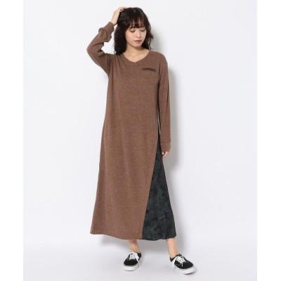 (AVIREX/アヴィレックス)リブニットライククロス プリーツワンピースドレス/ RIB KNIT LIKE CLOTH/PLEATED ONE PIECE DRESS/レディース BROWN