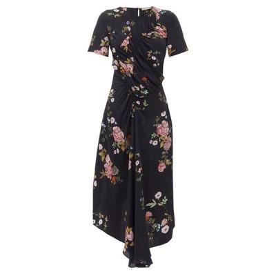 プリーン Preen Line レディース ワンピース ワンピース・ドレス Shae gathered floral-print crepe de Chine dress Black