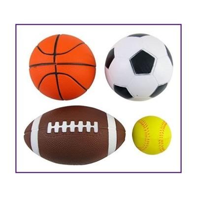 Set of 4 Sports Balls for Kids (Soccer Ball, Basketball, Football, Tennis Ball) By Bo Toys by Bo Toys and Gifts【並行輸入品】