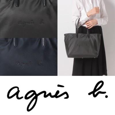 アニエスベー agnes b ロゴ ナイロン トートバッグ バッグ ブラック ネイビー レディース 取り寄せ