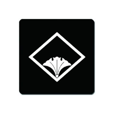 家紋シール 白紋黒地 糸菱に覗き銀杏 10cm x 10cm KS10-1722W