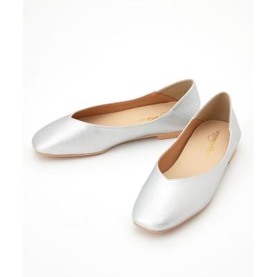 【ゆったり幅】スクエアトゥVカットバブーシュ(低反発中敷)(ワイズ4E) シューズ(フラットシューズ) Shoes