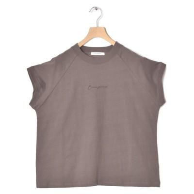 【ダブルクローゼット】 モックネックロゴTシャツ レディース ブラック FREE w closet