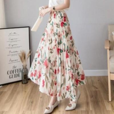 レディース春夏 薄手 フリーサイズ ロング フレア 83725 アイボリー系 花柄 プリーツスカート シフォン ウエストゴム