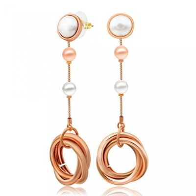 ケムストーン イヤリング Kemstone Fashion Jewelry Elegant Woman Rose Gold Color Round Circle Dangle Earrings with Simulated Pearls