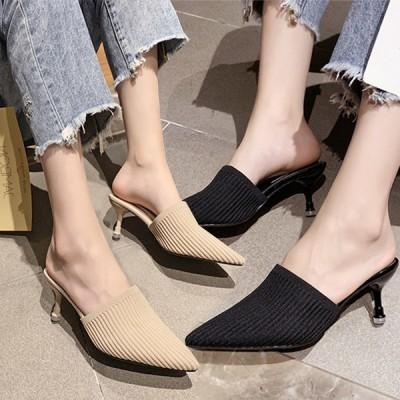モンド・6688・ニットミュールブルロポスティレットヒールの女性靴