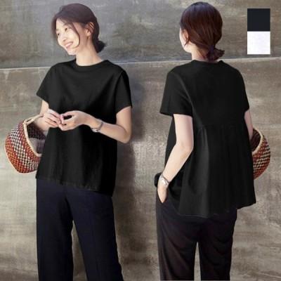 Tシャツ カットソー 半袖 無地 夏 春 クルーネック バックシャーリング 白 韓国 トップス レディース