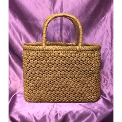 山葡萄かごバッグ 極小六角花編み やまぶどう2本手