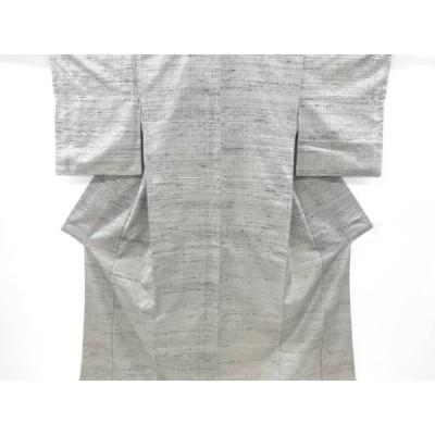 リサイクル 縞模様織り出し手織り節紬着物
