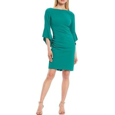 ヴィンスカムート レディース ワンピース トップス Asymmetrical 3/4 Sleeve Crepe Sheath Dress