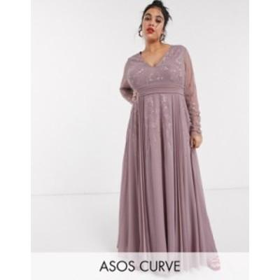エイソス レディース ワンピース トップス ASOS DESIGN Curve embroidered pleated mesh detail maxi dress Mauve