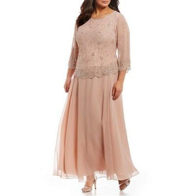 ジェイカラ レディース ワンピース トップス Plus Size Beaded Bodice Chiffon Gown Blush/SIlver