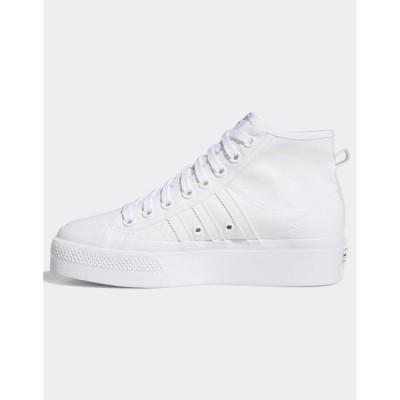 アディダス adidas Originals レディース スニーカー シューズ・靴 Adidas Originals Nizza Platform Trainers In White ホワイト