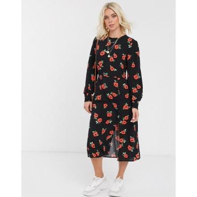 ノーバディーズチャイルド ミディドレス レディース Nobody's Child tea dress with balloon sleeves and button detail in rose print エイソス ASOS