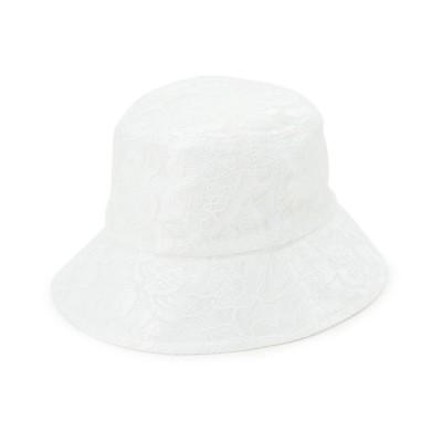 クチュール ブローチ Couture brooch リバーシブルレースバケットハット (ホワイト)