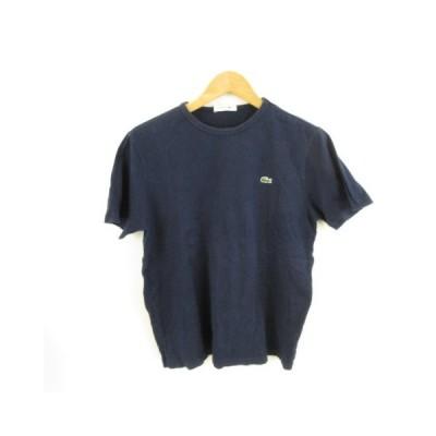 【中古】ラコステ LACOSTE カットソー Tシャツ 半袖 ワンポイント 紺 5 *E125 メンズ 【ベクトル 古着】