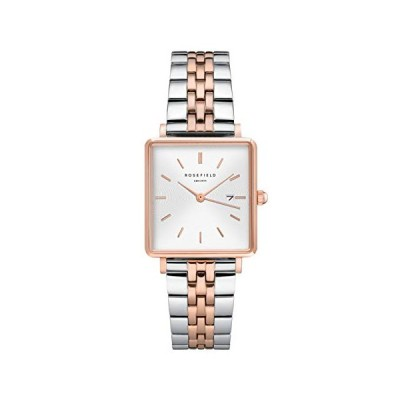 Rosefield Women's Watch The Boxy White Dial Sunray Silver and Rose Gold Strap Rose Gold Square Case QVSRD-Q014 並行輸入品