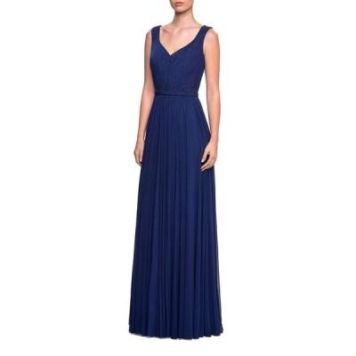ラフェム レディース ワンピース トップス Sleeveless Ruched-Bodice Net Jersey Gown w/ Tonal Rhinestones