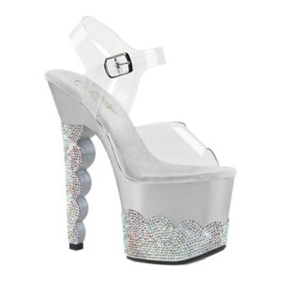 プリーザー レディース サンダル シューズ Scallop 708 2RS Heeled Sandal Clear/Silver AB Rhinestones Synthetic