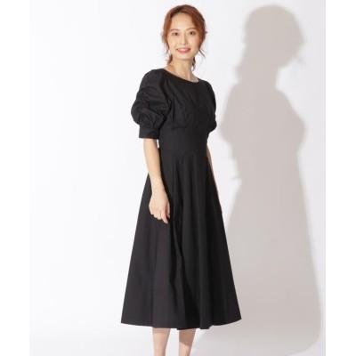 【アンドクチュール】 タイプライター袖シャーリングワンピース レディース ブラック M And Couture