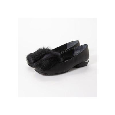 ファー付きローヒールパンプス (黒)