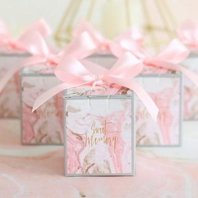 ギフトボックス 50個セット リボン ピンク ラッピング 結婚式 パーティ