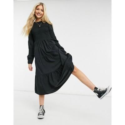 ピーシーズ Pieces レディース ワンピース ミドル丈 ワンピース・ドレス Midi Smock Dress With Shirring In Black ブラック