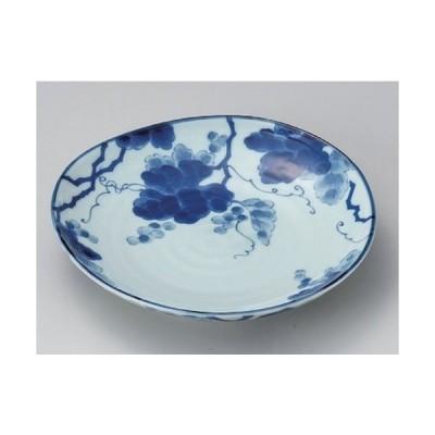 ☆ 丸皿 ☆藍染ぶどう6.0皿 [ 18.9 x 3.2cm 370g ] 【 料亭 旅館 和食器 飲食店 業務用 】