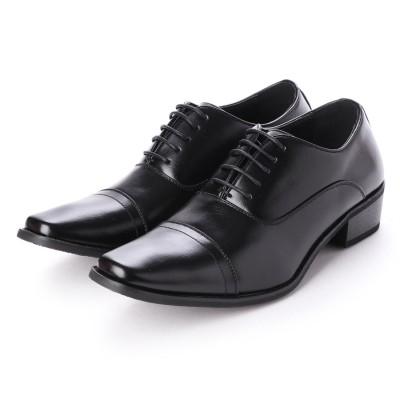 ジーノ Zeeno ビジネスシューズ 靴 メンズ 紳士靴 フォーマル ストレートチップ レースアップ 内羽根 シークレットシューズ ロングノーズ (ブラック)