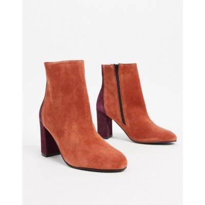 エイソス レディース ブーツ・レインブーツ シューズ ASOS DESIGN Resilient leather heeled boots in rust