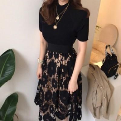 セットアップ レディース 夏 レース 刺繍 ロングスカート 韓国 ファッション レディース 黒 トップス 花柄 レーススカート 上品 大人可愛