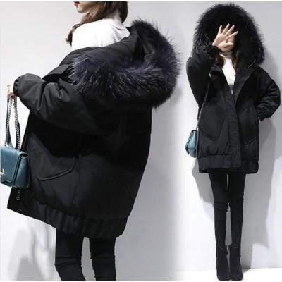 お呼ばれ 冬服 ジャケット レディースダウンコート フード付き ロングコート中綿 アウター防寒厚手 暖かい 超ロングコート 軽量 着痩せファー  無地 通勤 黒
