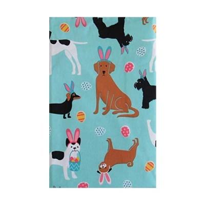 イースターを祝うウサギの耳の中の犬 ビニールフランネル裏地テーブルクロス 60 Round