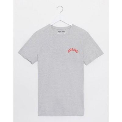 ジャック アンド ジョーンズ Jack & Jones メンズ Tシャツ トップス Small Chest Logo T-Shirt ライトグレー