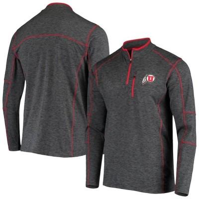 """メンズ ジャケット """"Utah Utes"""" Colosseum Platonish Quarter-Zip Jacket - Heathered Charcoal"""