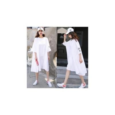 ワンピース BIGサイズ☆韓国風ホワイトワンピースTシャツ/1色 us-0107