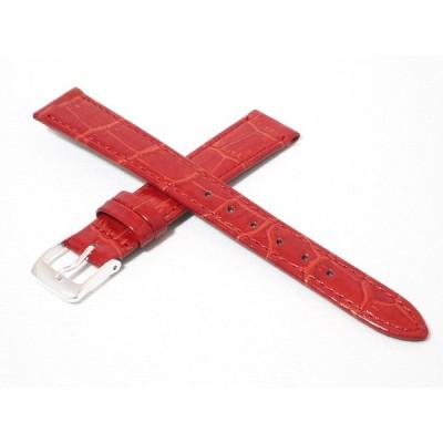 高品質日本製(ミモザ社製) 14mm/16mm 牛革カーフ型押し素材 交換用時計ベルト レッド(赤) シルバー尾錠 送料無料 CP-R