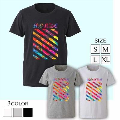 GLOSS MONDE STRIPE FLOWER T-SHIRTS T-シャツ Tシャツ ロゴT デザイン パロディ ブランド ビター系 BITTER 海外セレブ ダンサー フラワー ストライプ メンズ