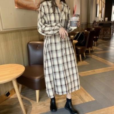 チェック ワンピース 秋 大きいサイズ ブラウン チェック柄 ロングワンピース 長袖 韓国 ファッション 秋服 レディース シャツワンピース