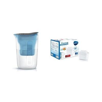 BRITA ブリタ 浄水 ポット 1.0L ファン ブルー ポット型 浄水器 マクストラプラス カートリッジ 1個付き スリム (ブルー)
