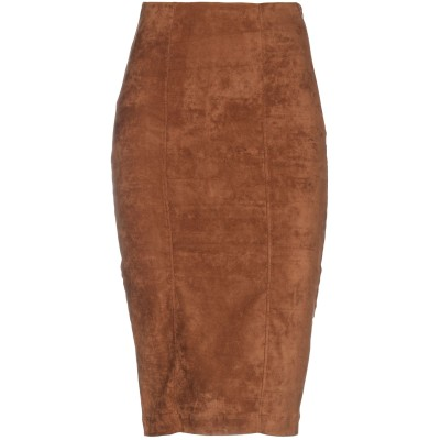 8PM ひざ丈スカート ブラウン S ポリエステル 95% / ポリウレタン 5% ひざ丈スカート